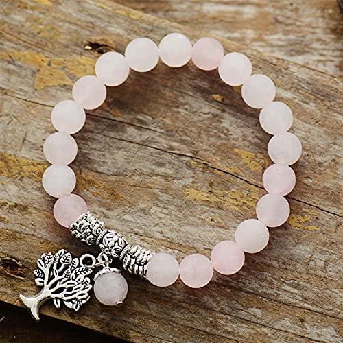 ACEACE Pulseras para Mujer Mate Amazonita Árbol Pulsera Pulsera Natural Piedra Fancy Bead Pulsera Joyería (Metal Color : Rose Quartz)