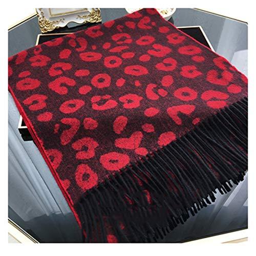hkwshop Bufandas Chal Otoño de la Mujer y la Bufanda del Invierno Leopard Moda Imprimir Pura Lana Gruesas del mantón Bufanda Caliente Regalos for Damas Moda Bufandas (Color : A)