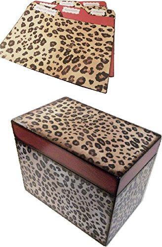 Recipe Box, Tab Dividers SET Wood, Holds 4x6 Recipe Cards,Cheetah Print and Red, Decoupaged