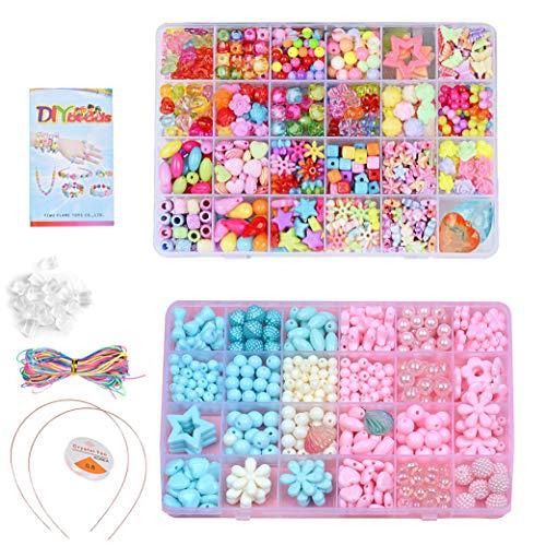 Queta Cuentas de Collares para niñas Bricolaje Kits de Abalorios de Pulseras Perlas para niños Hechas a Mano 2 * 24 Rejillas (Tipo 3)