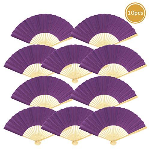"Quasimoon 9"" Dark Purple Silk Hand Fans for Weddings (10 Pack) by PaperLanternStore"