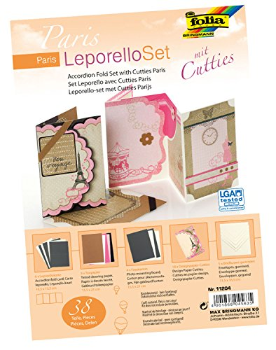folia 11204 - Leporello Set mit Cutties Paris, 38 Teile - ideal zum Gestalten von hochwertigen Glückwunsch- oder Einladungskarten