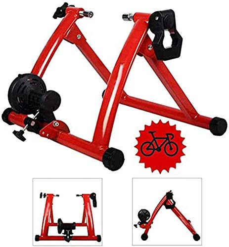 JLDN Bike Resistance Trainers, Bike Trainer Stand w/ 7 Levels Resistance Wire Control Adjuster Quiet Noise Reduction Bicycle Turbo Trainer for Mountain & Road Bikes,Red