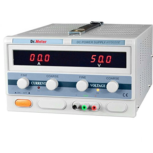 Dr.meter DC Power Supply 50V 20A High Current Switching Single-output 1000W ,Alligator to Banana and AC Power Cable Included, HY5020E