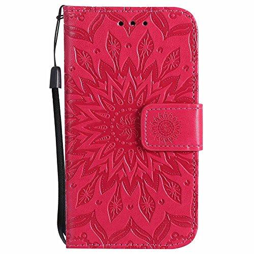 K3 2017 Hülle, Dfly Premium Slim PU Leder Mandala Blume Prägung Muster Flip Hülle Bookstyle Stand Slot Schutzhülle Tasche Wallet Case für LG K3 2017, Rot