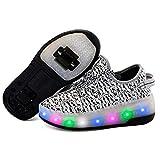 Getrichar Niñas, niños y niños Soltero/Doble Rueda LED Parpadeante patineta Zapatos Rodillo Zapatillas de Deporte (Color : K, Size : 37)