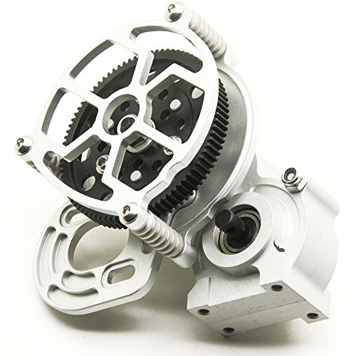 Que-T Aluminum Alloy Center Transmission Case /Gearbox with Straight Gear for 1/10 Axial SCX10 RC Model Crawler Car (Silver)