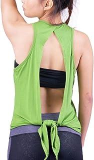 Lofbaz Women's Open Back Yoga Shirt Tie Back Workout Clothes Racerback Tank Tops