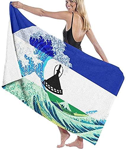 BAOYUAN0 Toalla de Playa Gigante Bandera de Lesotho Kanagawa Wave Manta de Playa Toalla Toalla de baño Grande 80 * 130cm Accesorios para Acampar Manta de Picnic