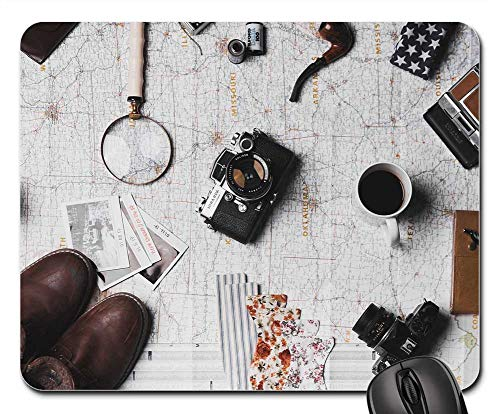Mouse Pad - Map Microscope Coffee Camera Pen Notebook Shoes