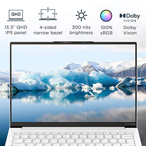 "Lenovo Yoga Slim 7 Carbon 11th Gen Intel Core i7 13.3"" (33.78cm) QHD IPS Ultra-Light & Thin Laptop (16GB/1TB SSD/Windows 10/MS Office/Intel Iris Xe GFX/Carbon Fiber/Moon White/0.96 Kg), 82EV003WIN"