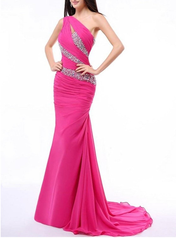 Emmani Women's Trailing Mermaid Beaded One Shoulder Evening Dresses