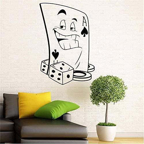 Pegatinas de pared, pegatinas y murales artísticos, juego de cartas de póquer, juego de póquer, juego de cartas de póquer para el hogar, artículos para el hogar, Mural artístico de 58x86 cm