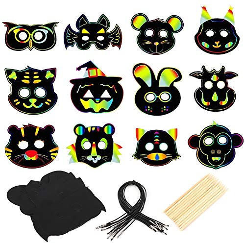 MWOOT 24 Piezas Máscaras de Animales Papel para Rascar,Máscara de Rascar Colorida para Niños Scratch Art para Cosply Navidad Carnaval Fiesta de Cumpleaños