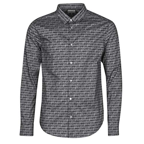 Emporio Armani 6h1c09 Hemden Herren Schwarz - M - Langärmelige Hemden Shirt