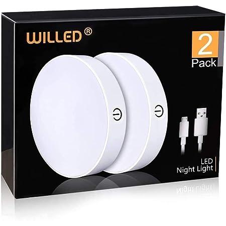 WILLED Veilleuse à pile, avec Contrôle Tactile Luminosité, Rechargeable USB, Lampe Nuit, Lampe de Placard, Lampe d'armoirepour Escalier, Armoire, Cuisine Chambre [Lot de 2]