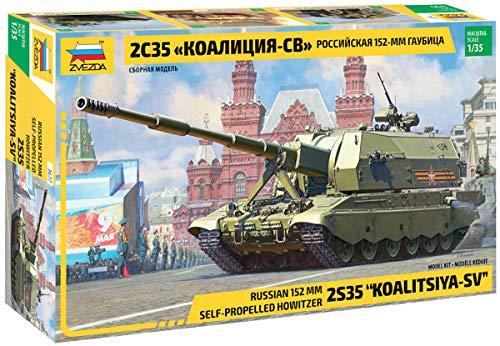 Zvezda Koalitsiya 500783677 500783677-1:35 2S35 Koalitsiya-SV Russian - Maqueta de construcción de plástico para Principiantes, Color Verde Oliva