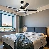 Ventilador de techo de 120 cm con luz LED, color champán con 5 cuchillas, temperatura ajustable en 3 colores, motor silencioso, para decoración del hogar, salón, dormitorio