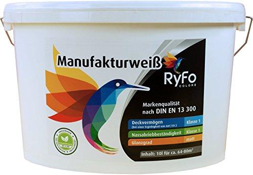 RyFo Colors Manufakturweiß 10l (Größe wählbar) - unsere beste Profi Wandfarbe, sehr ergiebige zertifizierte Innen-Dispersion, Innenfarbe weiß, hoher Weißgrad, Deckkraft Klasse 1, Nassabrieb Klasse 1
