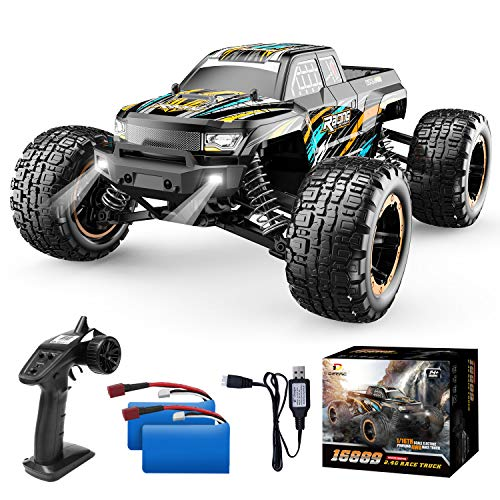 DEERC RC Cars High Speed Remote Control Car for Boys 16889 1:16 Scale 36+KM/H Fast 4WD RC Trucks with LED Lights,2.4GHz All Terrain Offroad Truck with 2 Battery,35+ Min Play, Gifts for Kids Adults