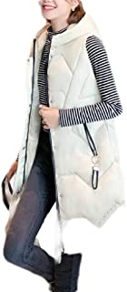Macondoo Womens Hooded Winter Quilted Thick Cotton Padded Down Vest Coat