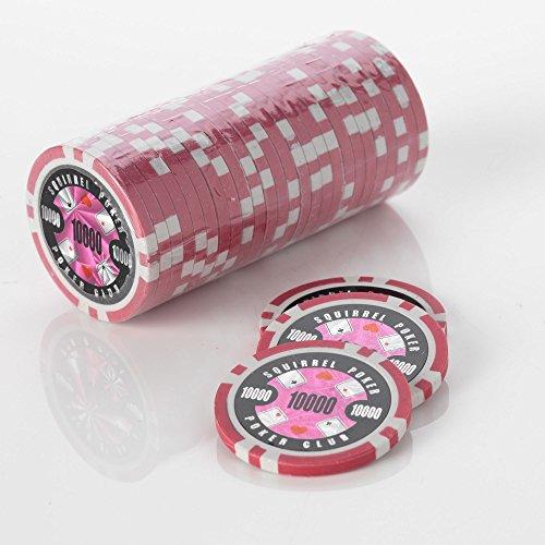15 g Motif jetons de Poker jeu de Poker Motif écureuil Club 15 g de Poker Couleur : Valeur $rose = 10000