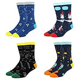 Happypop men's funny crazy food math space alien crew socks, novelty christmas gift box 1 ★【size & packing】funny math socks for men. Fit for sock size 8-14, men shoe size 7-13. 4 pairs of socks come in one exclusively designed gift box. ★【formula socks】novelty chemistry socks for men. With formulas in various disciplines, you become a versatile man. You are a knowledgeable and elegant man. ★【quality material】science socks for men. We use 80% combed cotton, 17% polyamide, 3% spandex to ensure our socks soft, comfortable, stretchy and breathable. Our socks will hold up to years of washes and will stay colorful, soft, comfortable, and well fitting!