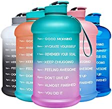 Venture Pal Motivational Water Bottle with Time Marker - 1 Gallon/ 128 Oz Reusable Water Jug with Handle and Measurement Scale - Leakproof Large Water Bottle for Gym, Office, Home