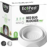 ECOPEST Bed Bug Interceptors - 8 Pack | Bed Bug Blocker (Pro) Interceptor Traps (White) | Insect Trap, Monitor, and Detector for Bed Legs