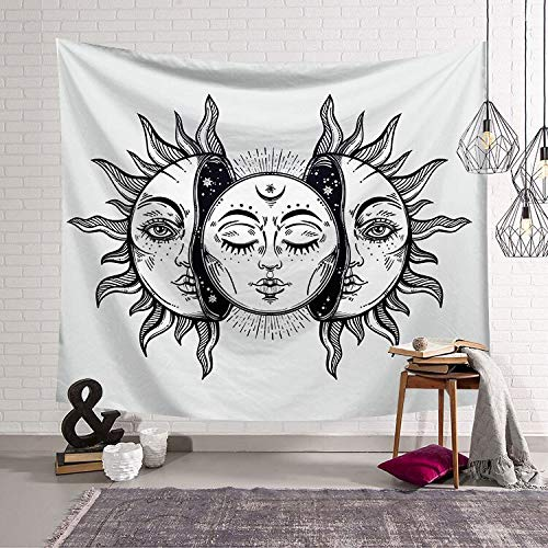 N / A Vintage Sun and Moon Mandala Tapestry Wall Hanging Hippie Bedspread Gypsy Art Decor Bohemian Beach Mat A4 95x73cm