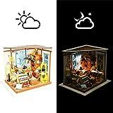 DIY Kleine Puppenhaus Miniatur Puppenhaus Kit Dekorationen Mit LED Leuchten Bastelsets, Schneiderei...
