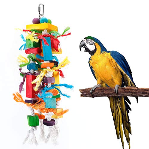 Bvanki Bird Toys, Parrot Chewing Toy, Multicolored Wooden Blocks Tearing Toys for African Grey Cockatiel Conure Cockatoo and Medium Amazon Parrot