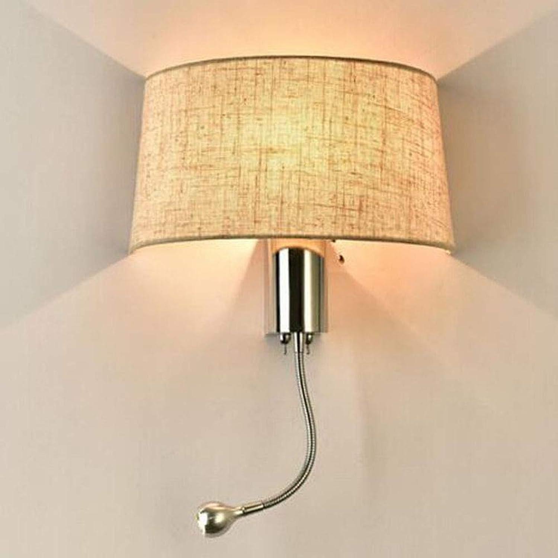 SXFYWYM Wall Lamp Fabric Einfache LED-Button schaltet Schlafzimmer-Lampen Wand-Sconce für Korridor Wall Light Lighting,14X45CM