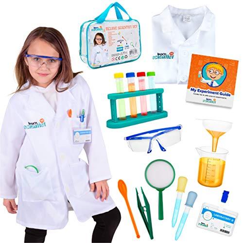 Disfraz de científico Completo para niños de Entre 5 y 10 años con Kit para experimentos científicos y Gafas de Laboratorio
