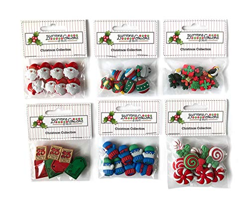 Buttons Galore 50+ Assorted Christmas Buttons for Sewing & Crafts - Set of 6 Button Packs
