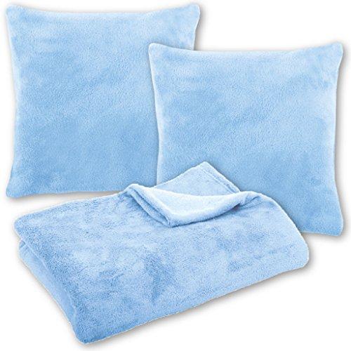 Bestlivings Kuscheldecke Tagesdecke Wohndecke mit Kissen in vielen Farben 210x280cm + 2X Kissenbezug Kissen 60x60cm (Farbe: hellblau - Babyblau ohne Kissenfüllung)
