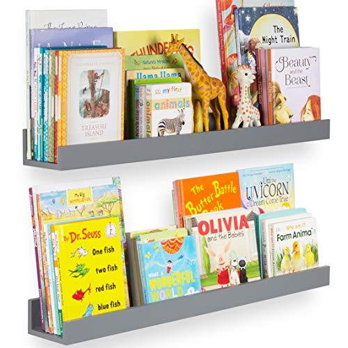 "Wallniture Denver 34"" Wall Mount Kids Bookshelves - Floating Shelves for Books, Toys and Picture Ledges, White, Set of 2"