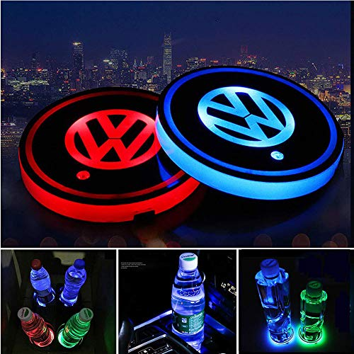 Honghou Technology for Volkswagen LED car Cup Holder lamp, car Logo Coaster with 7 Colors, Replaceable USB Charging pad, Ambient Light lamp with Glowing Coaster Interior(2pcs)