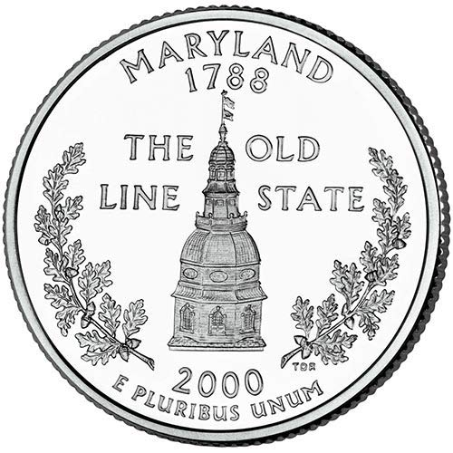2000 S Clad Proof Maryland State Quarter Choice Uncirculated...