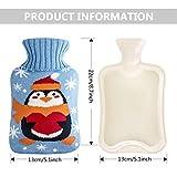 Bolsa de agua caliente, bolsa de agua caliente con funda de punto de 2 litros con cuello alto, bolsa de calor, alivio del dolor y comodidad, lavable, testado y seguro y duradero