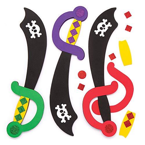 """Baker Ross Moosgummi-Bastelsets """"Piratenschwert"""" (4 Stück) – für Kinder zum Verzieren und Verkleiden"""