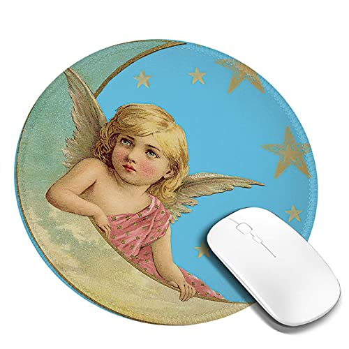 Angel Moon Round Mouse Pad Cherub Crescent Non-Slip Rubber Base Gaming Small Mousepad with Stitched Edge Portable Mouse Mat 7.9x7.9x0.12 Inch for Laptop Computer Pc Home Office Work Travel