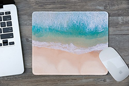 dealzEpic - Art Mousepad - Natural Rubber Mouse Pad Printed with Aerial View of Tropical Beach with Clear Sea Waves - Stitched Edges - 9.5x7.9 inches Photo #3