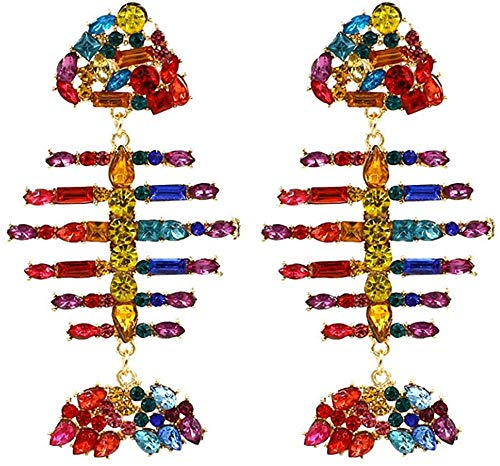 ZHENAO Ladies Handmade Earrings Lady Statement Earrings Personality Creative Colored Rhinestone Fish Bone Earrings for Woman Party Jewelry Decorations