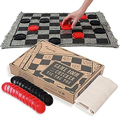 OleOletOy Super Tic Tac Toe and Giant Checkers Set Board Game with 24 Checker Pieces Reversible Rug, Classic Indoor and Outdoor Activity for Kids and Adults, Best for Camping, Backyard, or Lawn Game from Obeda