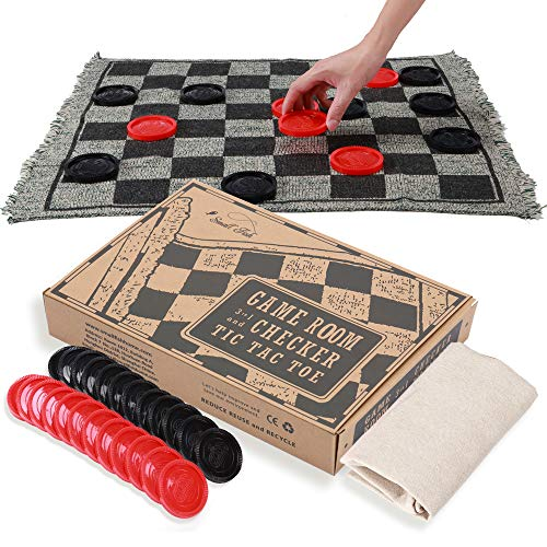 OleOletOy Super Tic Tac Toe and Giant Checkers Set Board Game with 24 Checker Pieces Reversible Rug, Classic Indoor and Outdoor Activity for Kids and Adults, Best for Camping, Backyard, or Lawn Game
