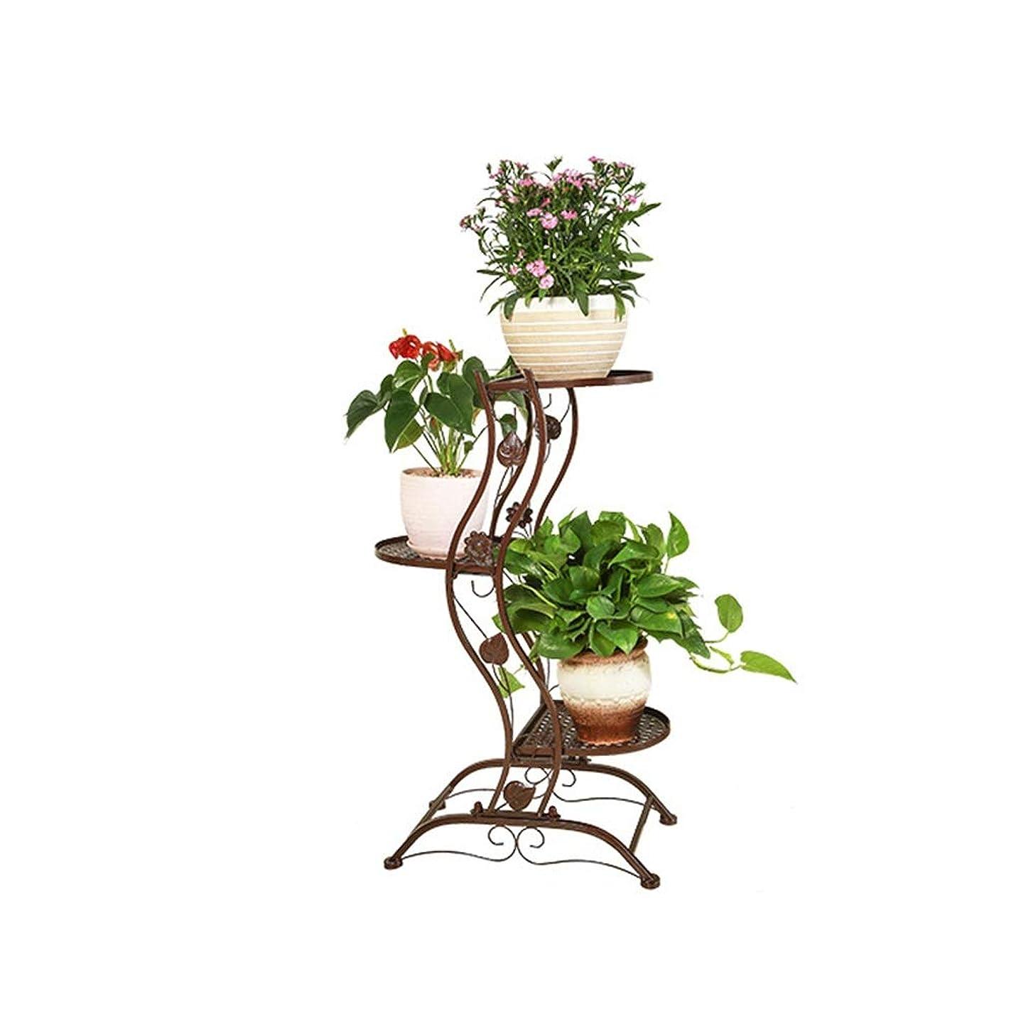 はっきりと意図びっくりしたフラワースタンド 鉄多層鉢植え植物スタンド金属フロアポットガーデンテラス立ち植物フラワーポットディスプレイスタンド 家、庭、パティオに最適 (色 : ブロンズ, サイズ : 3-layer)