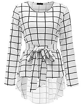 Romwe Women s Raw Hem Long Sleeve Belted Flare Peplum Blouse Shirts Top White Check Print L
