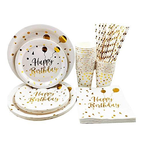 VAINECHAY Kit Vaisselles Jetables Anniversaire Blanc Or Assiette Dîner Tasse Serviette Papier Paille pour Enfants Party Fête Mariages Baby Shower Noël, 25 invités