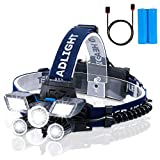 Rechargeable Headlamp LED, 5 Lamps 21 LED 9 Modes 18000 Lumen Super Bright USB Rechargeable Head Torch LED Headlamp Waterproof for Work Camping Fishing Jogging Reading Work Hiking